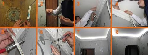 Этапы установки ленты