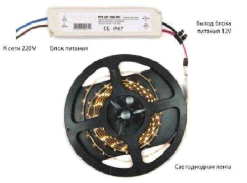 Лента с подключеным контроллером