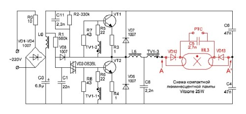 Схема лампочки на 25 Вт