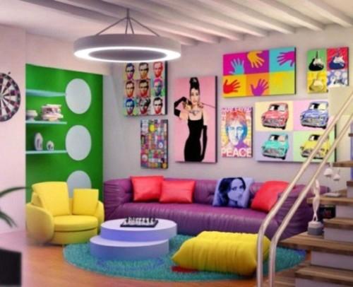 Разноцветное оформление зала