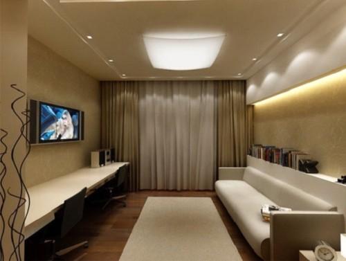 Потолочная плоскя люстра в комнате