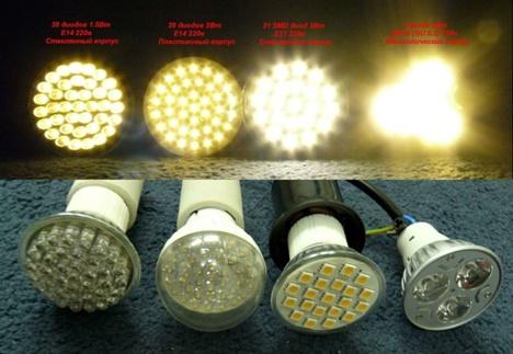 Свечение ламп