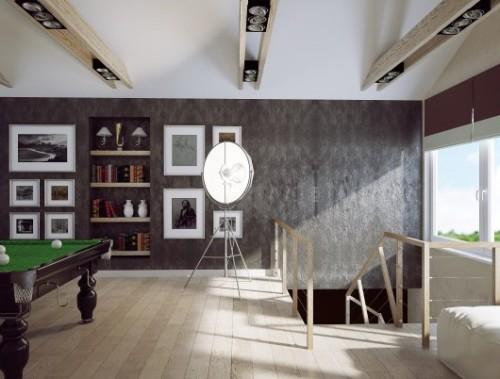 Модульная лампа в комнате