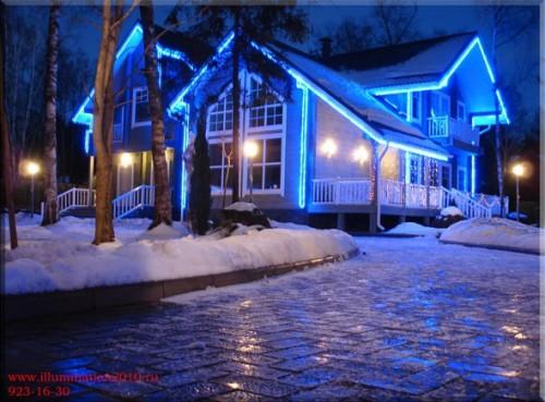 Вариант эффектной подсветки фасада