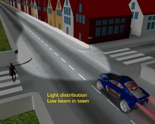Световой поток от фар в городе