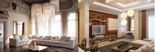 Планировка гостиной с высокими потолками