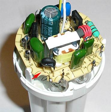 Элемент питания энергосберегающей лампы