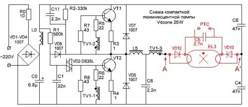 Устройство люминесцентной лампы Vitoone 25W