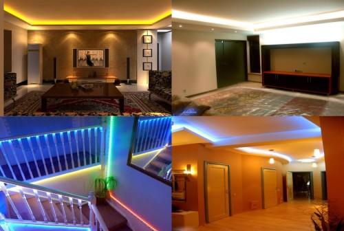 Варианты оформления комнат светодиодными лентами