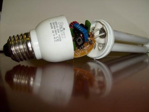 Внутренние части лампы