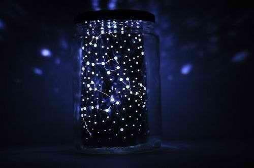 """Готовый ночник """"Звездное небо"""" сделанный из банки и фольги"""