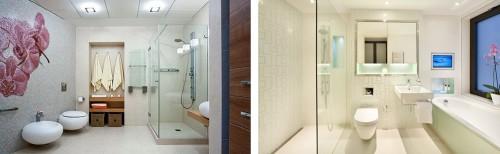 Применение квадратных светильников в ванной