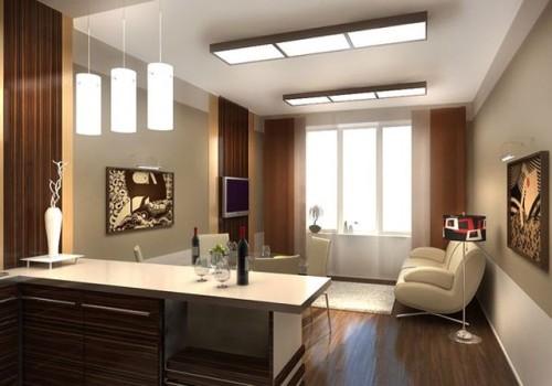 Гостиная с плоскими люстрами на потолке