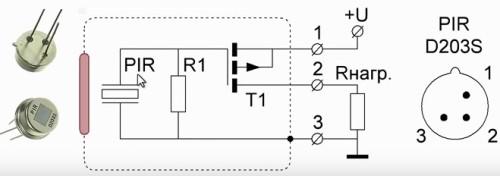Конструкция и подключение датчика