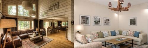 Деревянные люстры в интерьере гостиной
