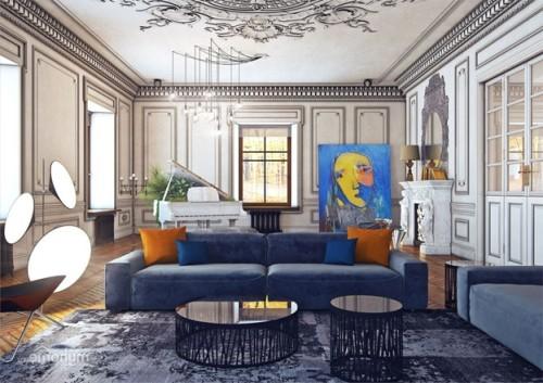 Вариант комнаты в стиле «эклектика»