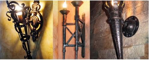 Кованные факелы со светодиодными лампами