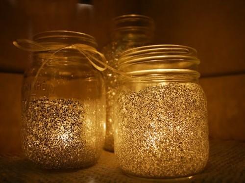 Вариант ночника «звёздная пыль» из стеклянной банки