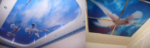 Фотопечатные натяжные потолки в ванной