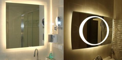 Варианты зеркал со встроенными светильниками
