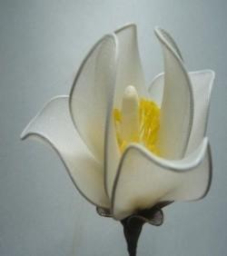 Бутон сделанный из капрона белого цвета