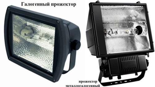 Внешний вид прожектора с галогенными лампами