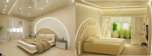Вариант оформления и дизайна спальни с использование светодиодов