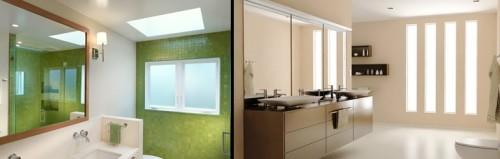 Применение панелей из матового стекла для рассеивания света по ванной