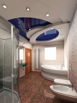 Комбинированная конструкция потолка в ванной комнате