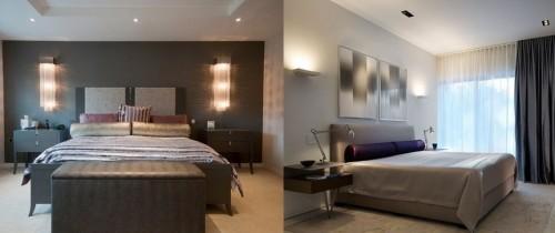 Вариант оформления спальни с необычными светильниками