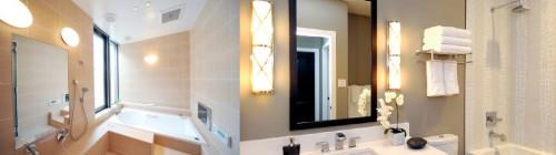 Лампы у зеркал и других ключевых объектов ванной комнаты