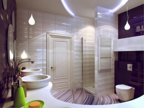 Зонирование помещения ванной светодиодными лентами