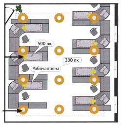 Предварительная планировка положения светильников в офисе