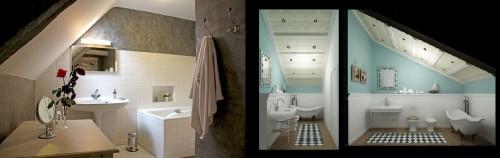 Организация освещение ванной комнаты на монсарде