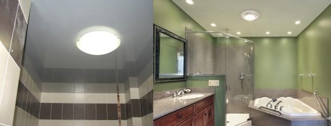 Применение потолочных светильников в ванной