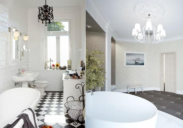 Оформление ванных с массивными люстрами