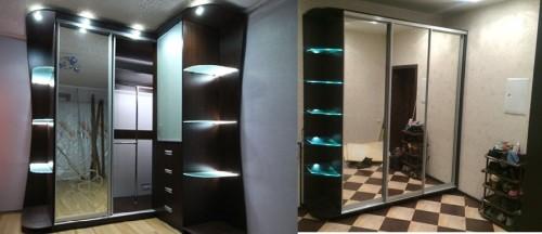 Внешний вид подсвеченных полок шкафа