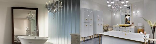 Хрустальные люстры в ванных комнатах