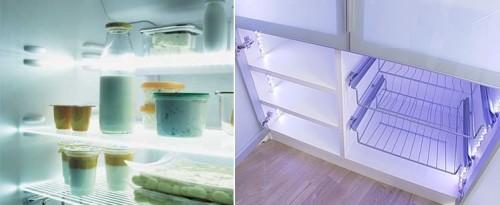 Вариант подсветки полок холодильника