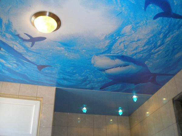 Вариант оформления потолка и применения плоского светильника