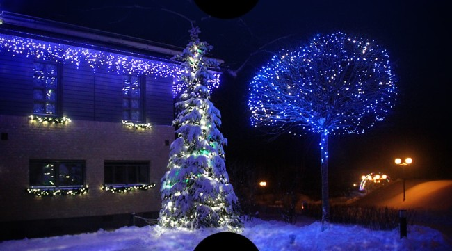 Декоративное подсветка на улице