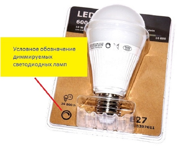 Упаковка и лампа с возможностью регулировки димером
