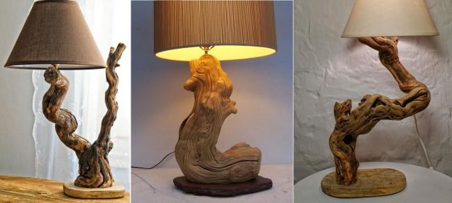 Вариант ламп из обработанных коряг