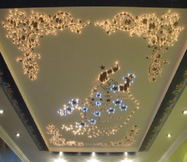 Гипсокартонный потолок с токопроводящей панелью