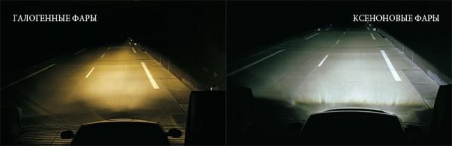 Освещение дороги разными типа фар
