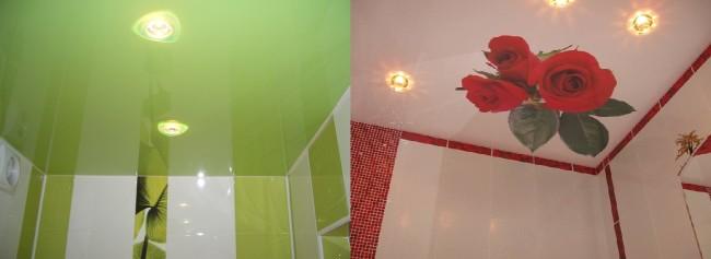 Примеры оформления потолков в ванной