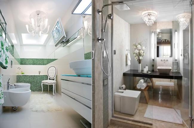 Оформление ванных с люстрами