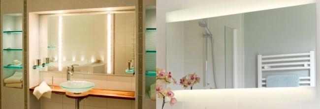 Варианты расположения подсветки в зеркалах
