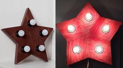 Пример светильников из дерева в виде звезды