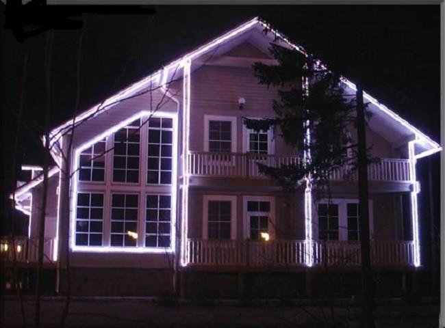 Подсветка дома силиконовыми светодиодными лентами